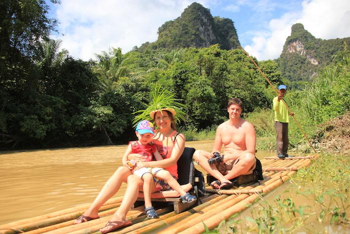 Guests during Khao Sok Bamboo Rafting