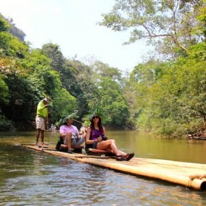 Khao Sok Bamboo Rafting relaxing guests