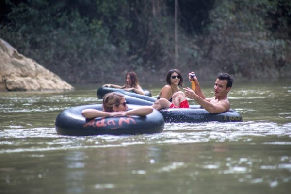 Guests enjoying Khao Sok River Tubing Tour